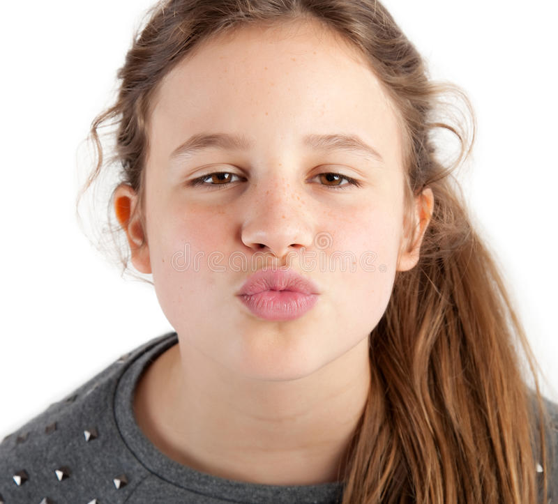 Girl giving kiss stock image