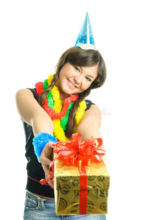 Download Girl giving us a present stock image. Image of female - 9218575