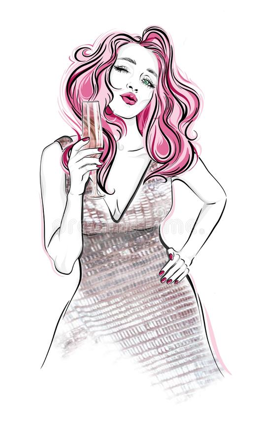 Girl with a glass of champagne sending air kiss. vector illustration