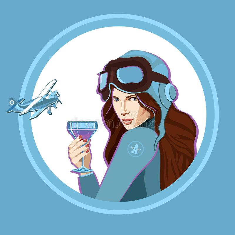 Girl with a glass of cocktail Aviation. Girl in a blue uniform with a glass of cocktail Aviation stock illustration