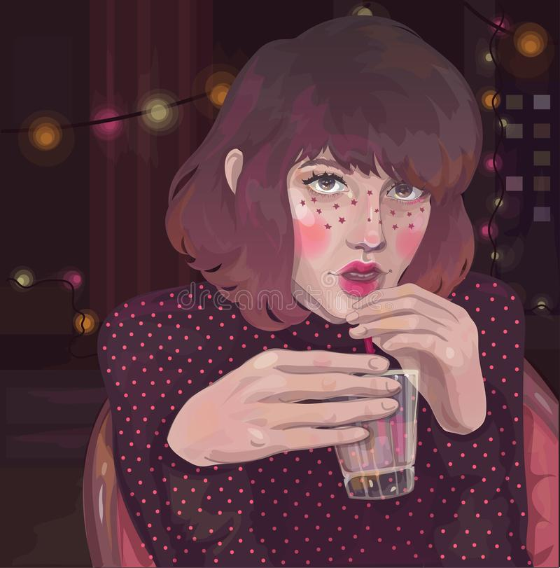 Girl with a glass at a room party royalty free illustration