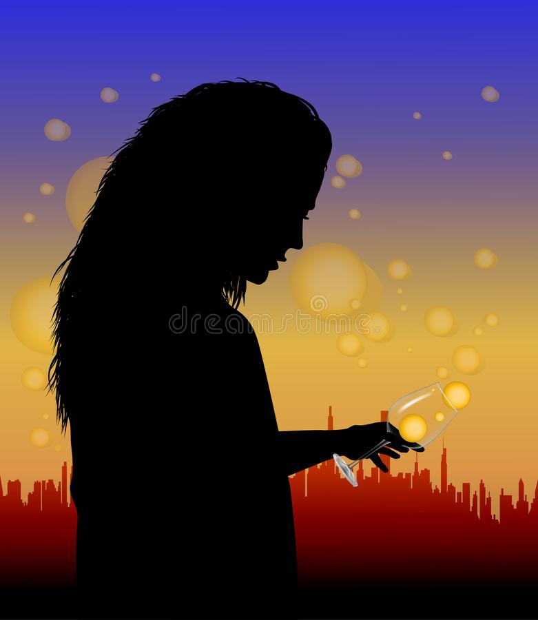 Girl with a glass royalty free illustration