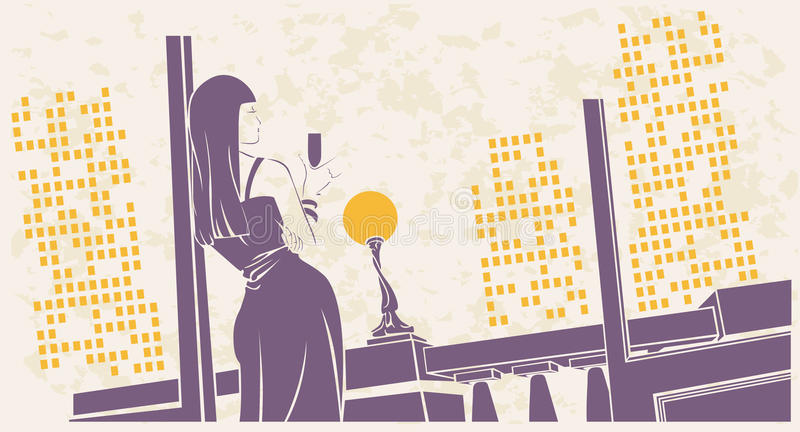 Girl with a glass of wine on the terrace vector illustration