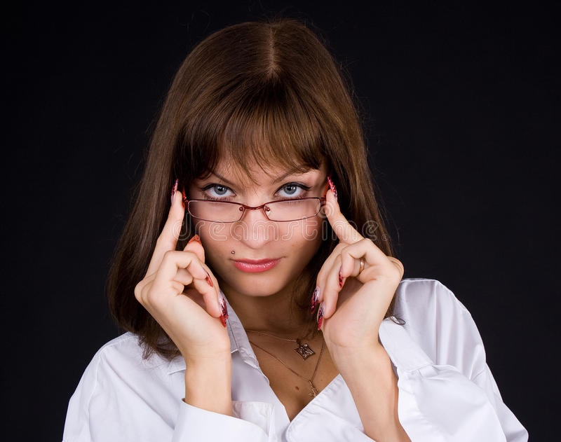 Download Girl in glasses stock image. Image of instructor, brunette - 13418325