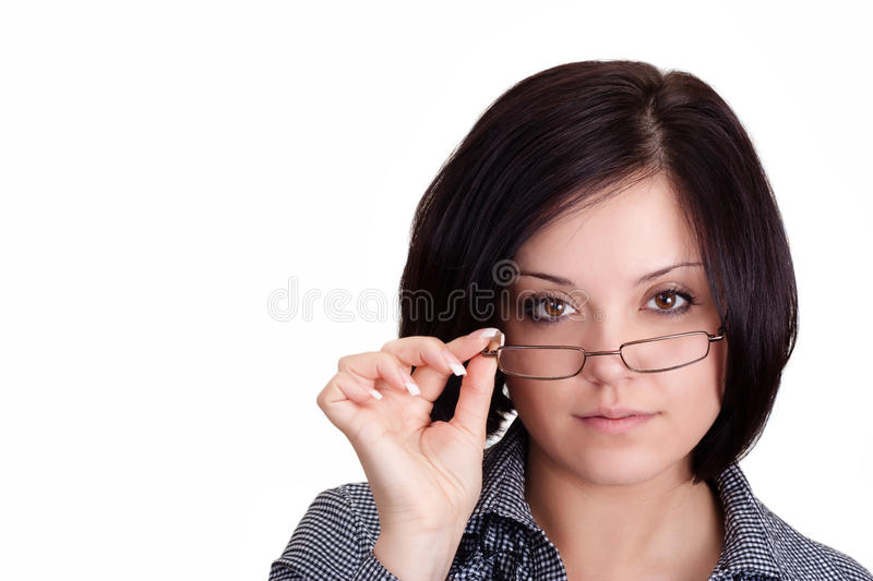 The girl in glasses royalty free stock image