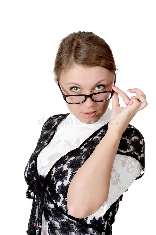 Download Girl in glasses stock photo. Image of steadfast, close - 24915608