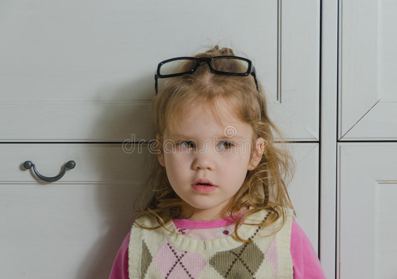 A girl with glasses closeup royalty free stock photos