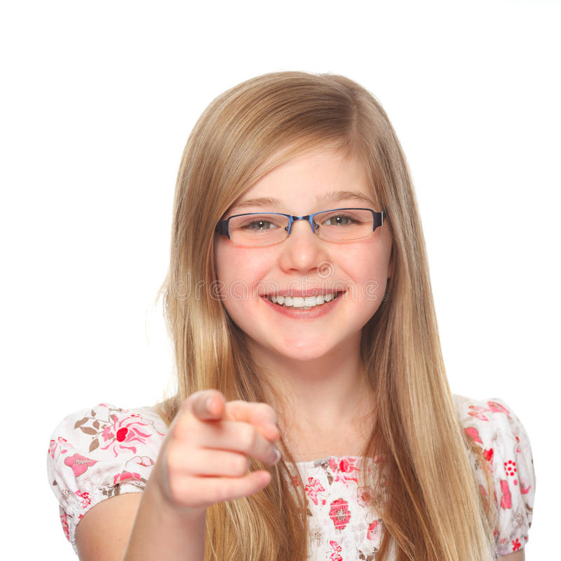 Girl With Glasses Pointing With Index Finger Royalty Free Stock Image