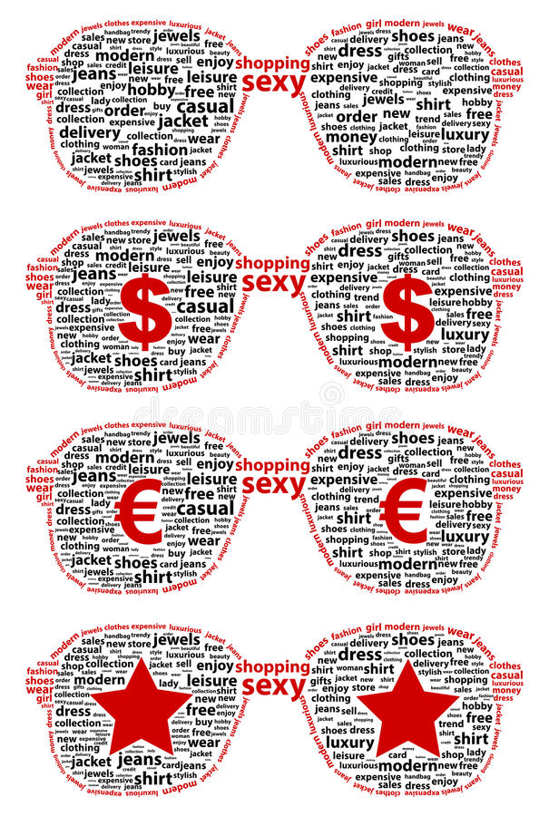 Girl Glasses With Shopping Word Cloud Concept stock photos