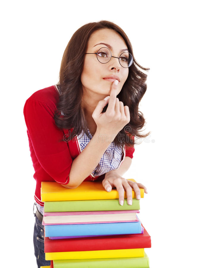 Download Girl In Glasses With Stack Book . Stock Photo - Image: 20752742