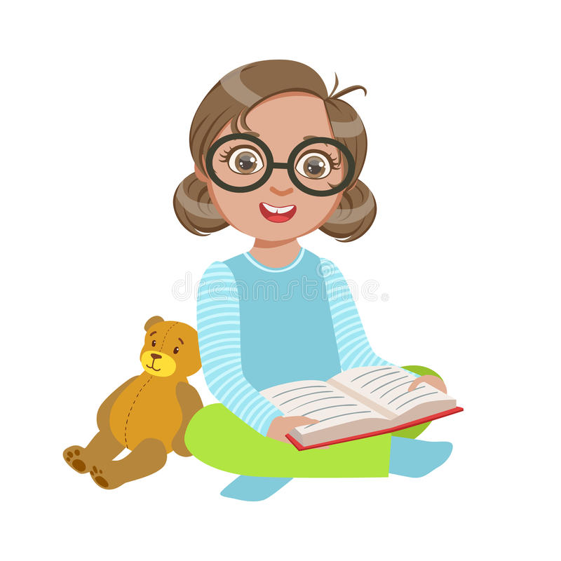 Girl In Glasses With Teddy Bear Reading A Book, Part Of Kids Loving To Read Vector Illustrations Series stock illustration