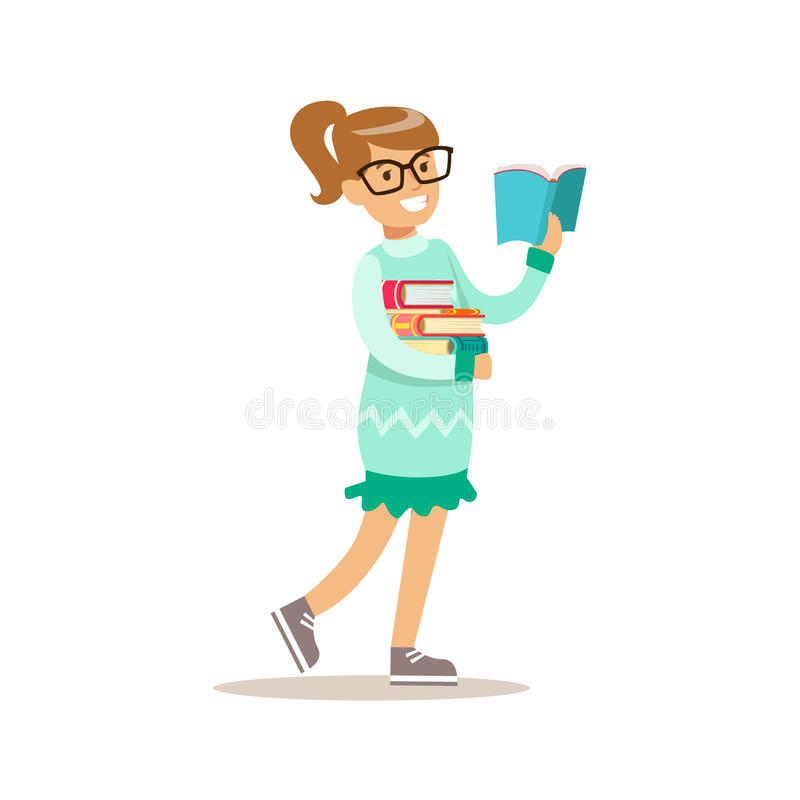 Girl In Glasses Who Loves To Read, Illustration With Kid Enjoying Reading An Open Book stock illustration