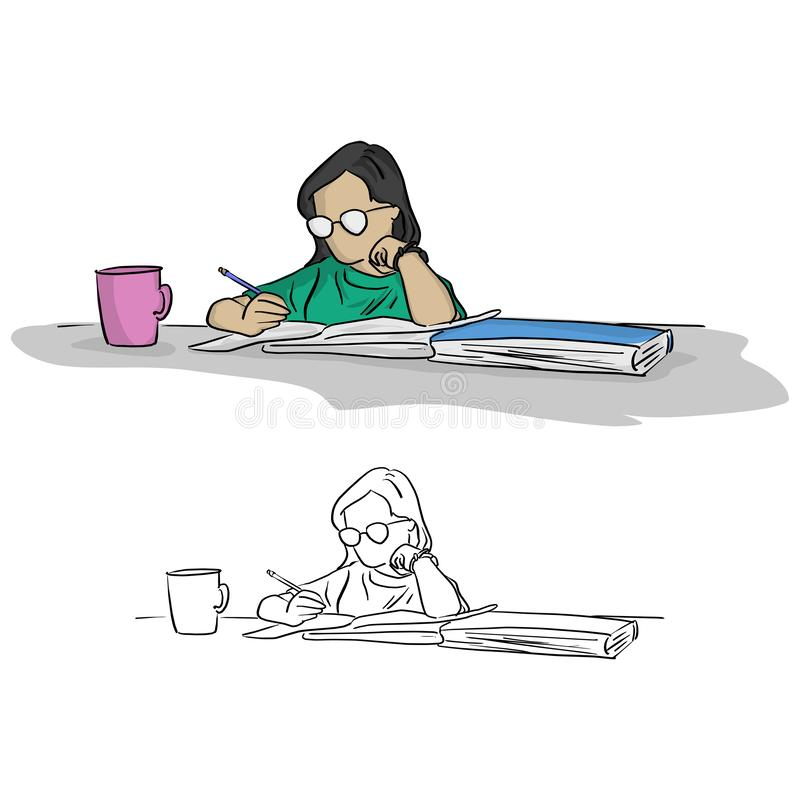 girl with glasses writing in notebook on table vector illustration sketch doodle hand drawn with black lines isolated on white ba vector illustration