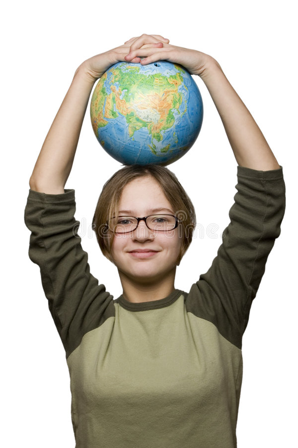Download Girl And Globe Royalty Free Stock Photos - Image: 2063148