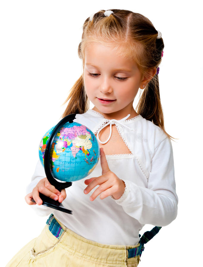 Download Girl With Globe Stock Photo - Image: 20865070