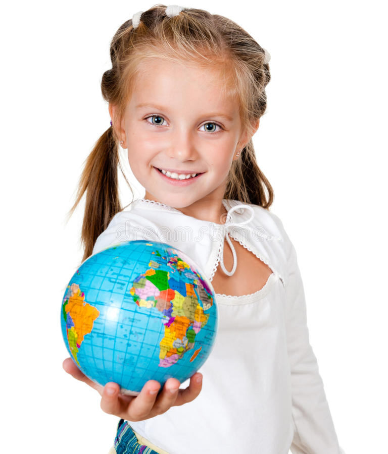 Girl with globe. Isolated on white background stock images