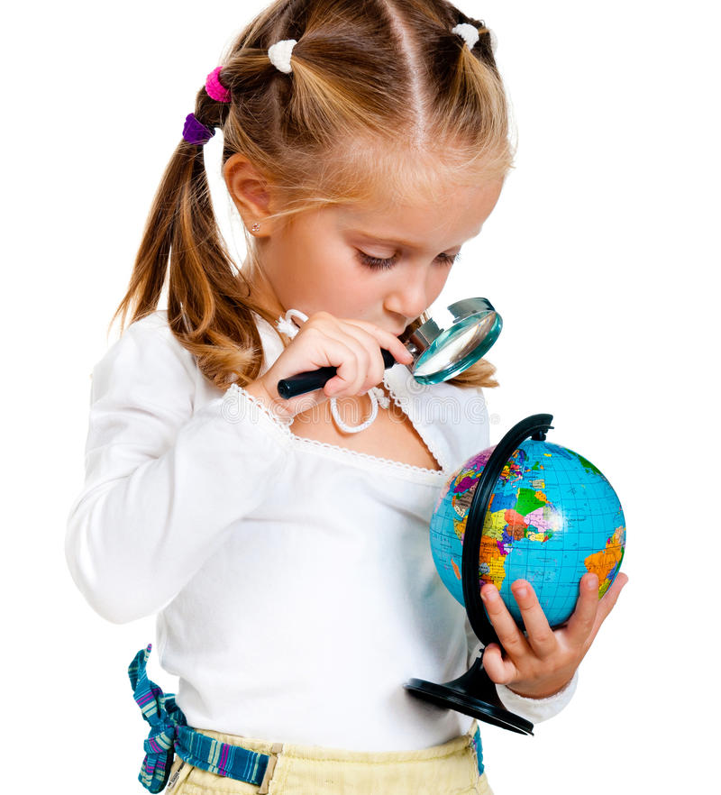 Girl with globe. Isolated on white background royalty free stock photography