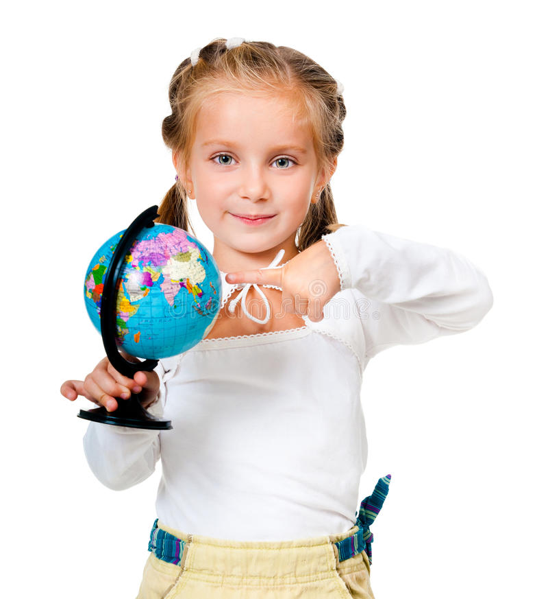 Girl with globe. Isolated on white background royalty free stock photo