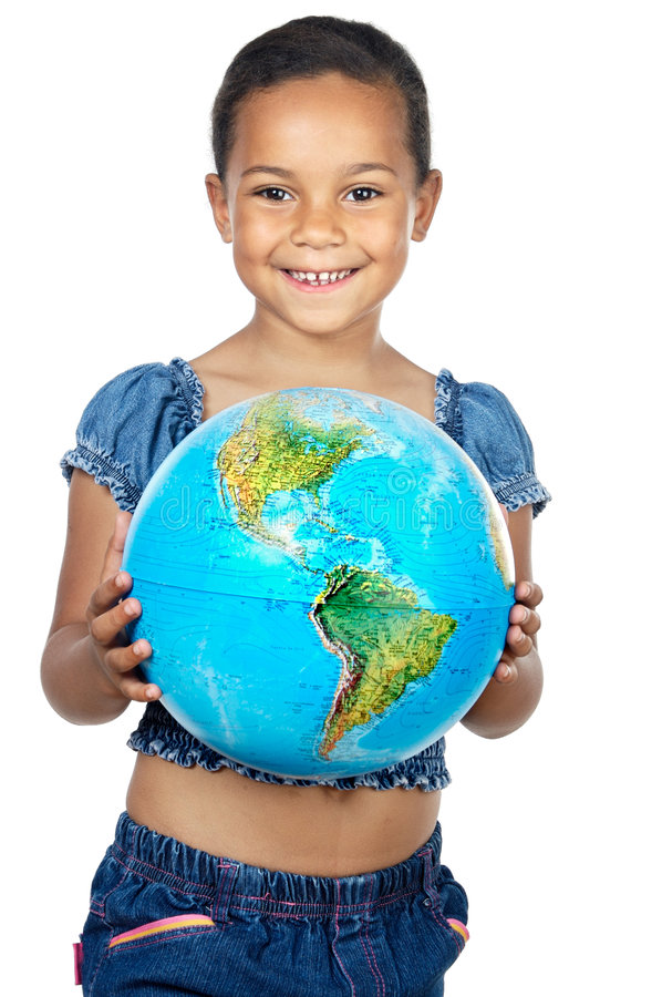 Girl with a globe of the world. Over white background stock photos