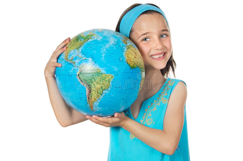 Girl with a globe of the world. Over white background stock images
