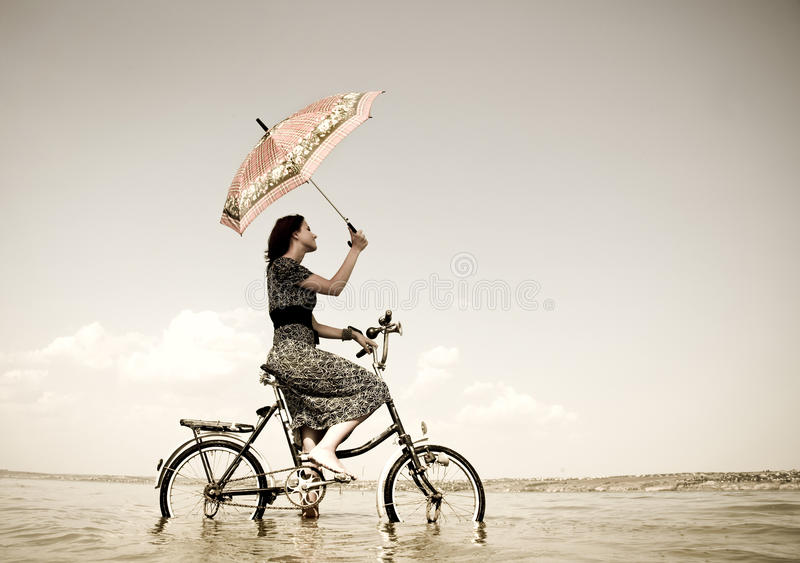 Download Girl Go For A Cycle Ride At Water Stock Image - Image: 11430689