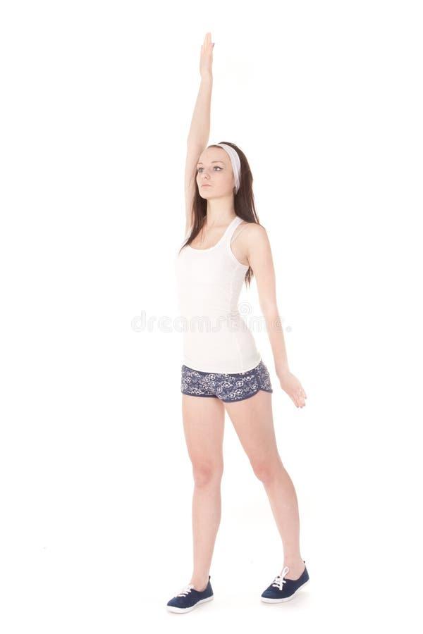 Girl go in for sport stock photos