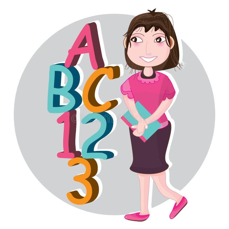 Girl go to ABC 123 stock illustration