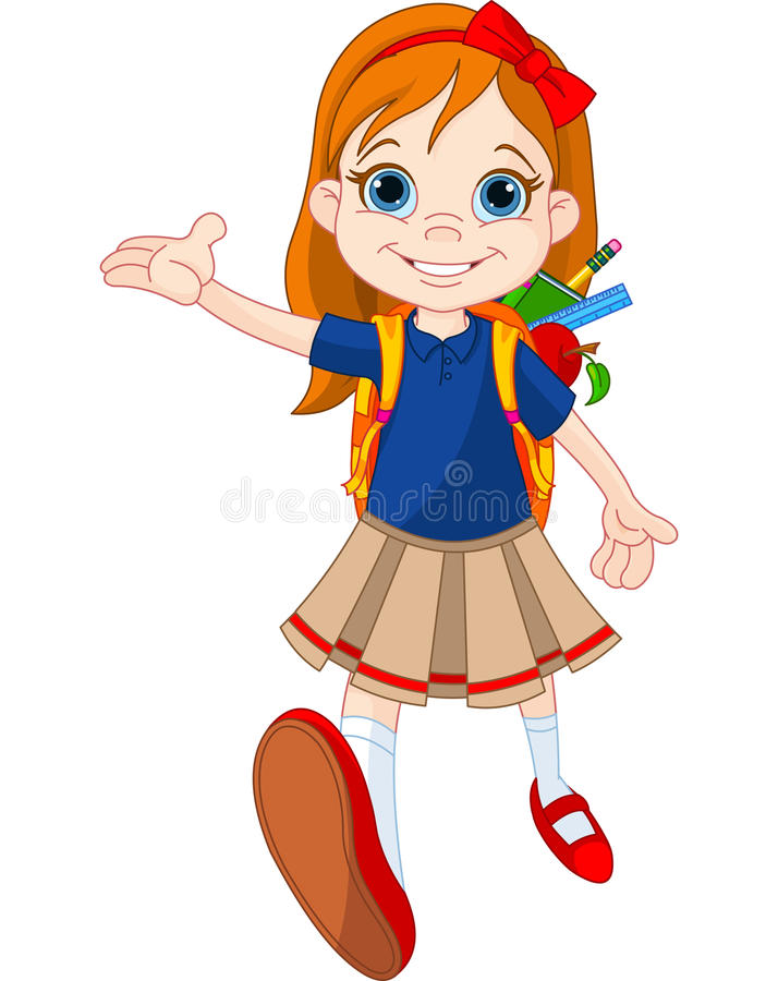 Girl go to school vector illustration