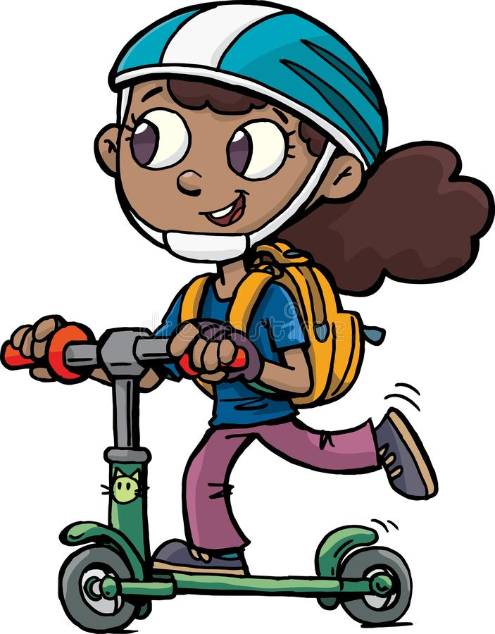 Girl go to the school on scooter royalty free illustration