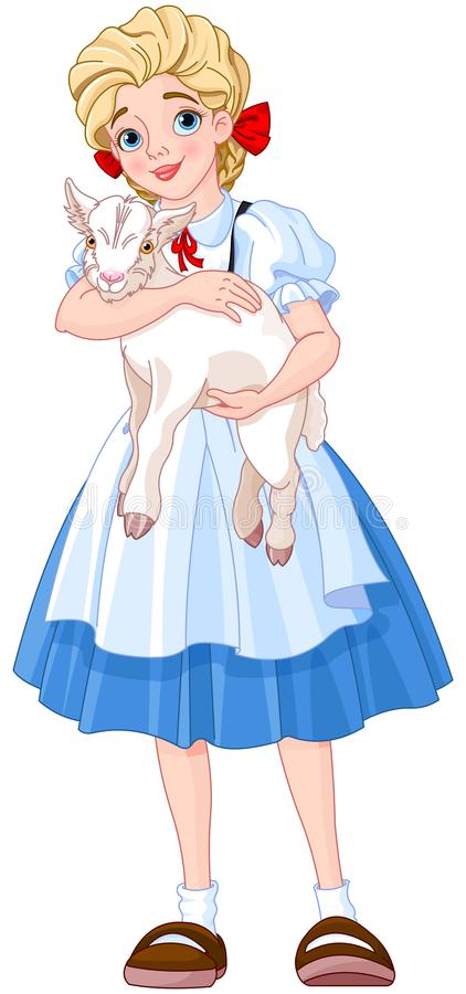 Girl and Goat. Illustration of the girl is holding a goat in her arms royalty free illustration
