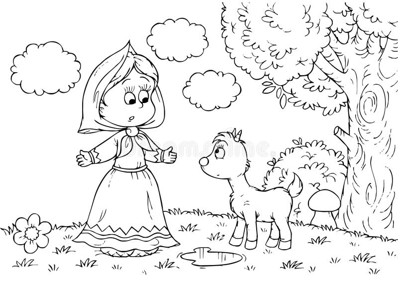Download Girl and goatling stock illustration. Illustration of small - 14961438