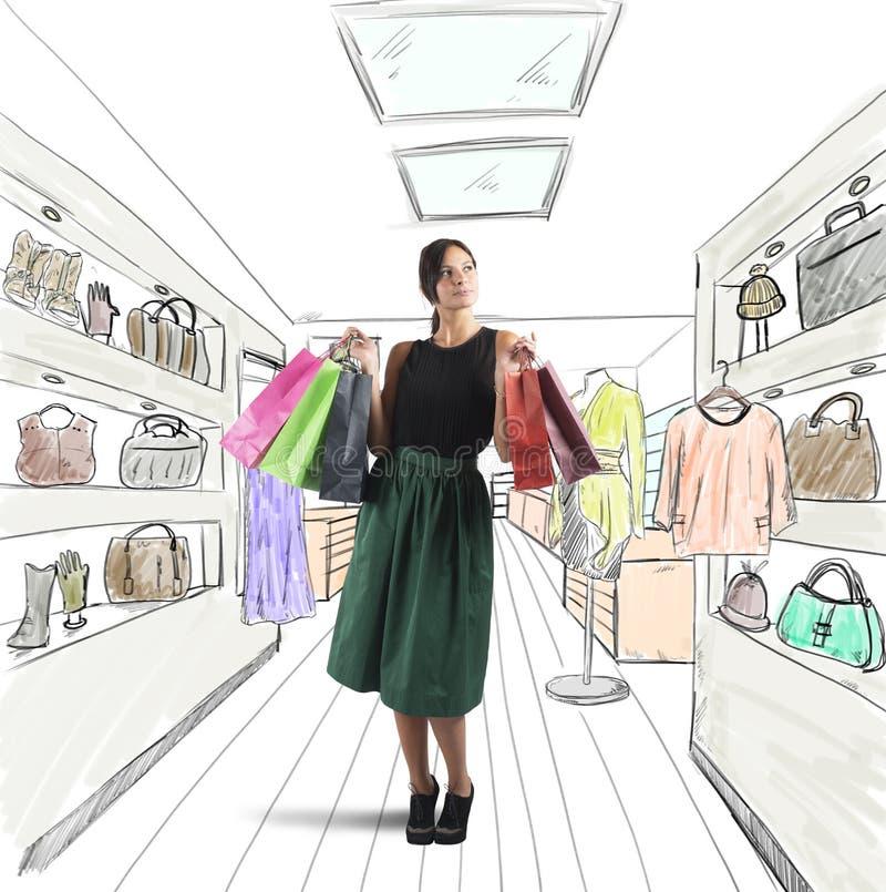 Girl goes shopping stock photo