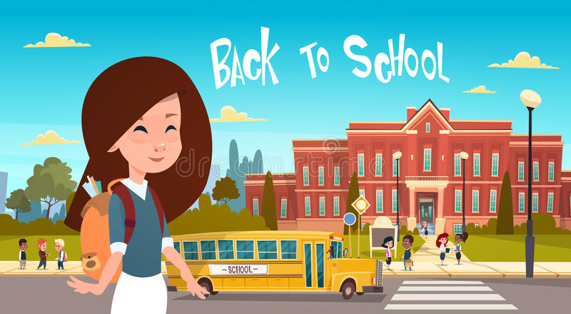 Girl Going Back To School Over Group Of Pupils Walking From Yellow Bus Primary Schoolchildren Students. Flat Vector Illustration stock illustration