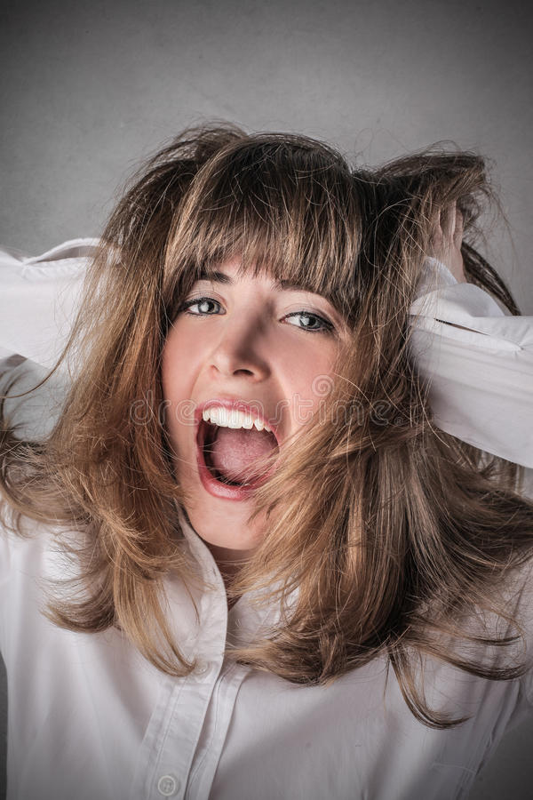 Girl going crazy stock photo. Image of intelligence