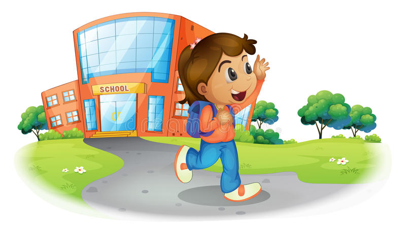 A girl going home from school royalty free illustration