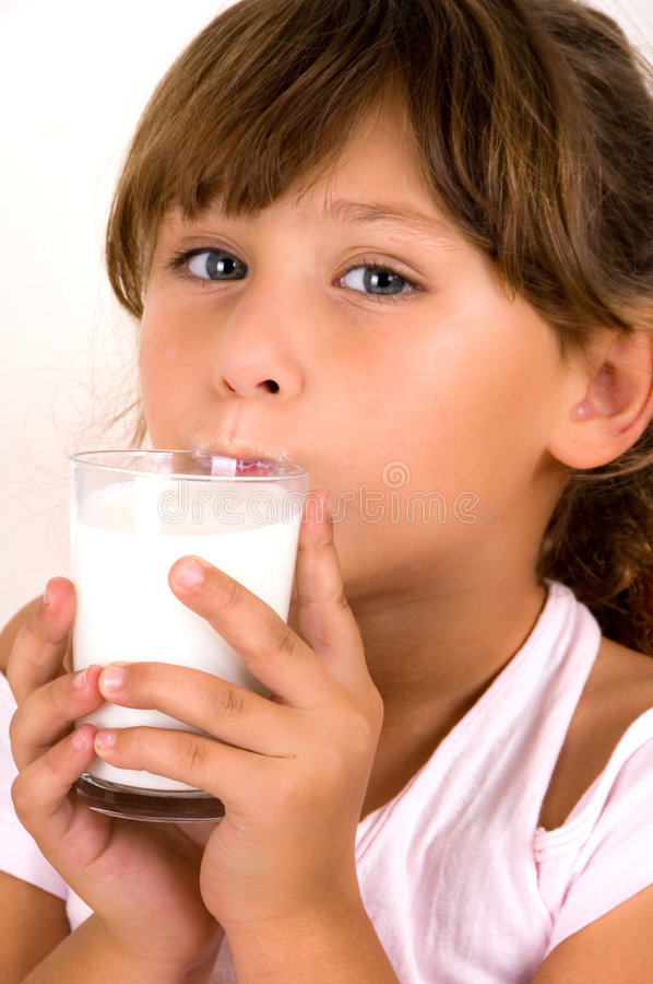 Download Girl Going To Drink The Milk Stock Photo - Image: 7419340