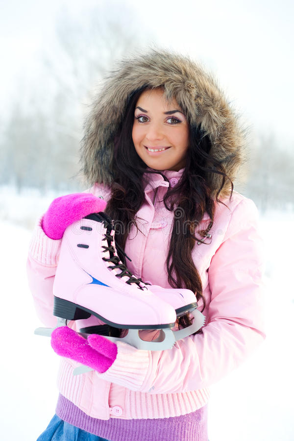 Girl going to ice skating stock images