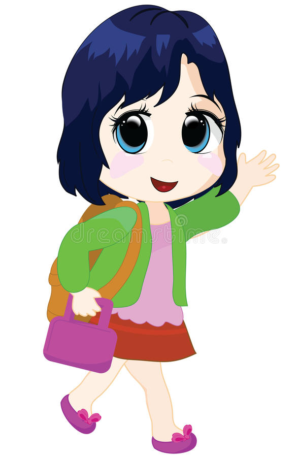 Girl going to school royalty free illustration