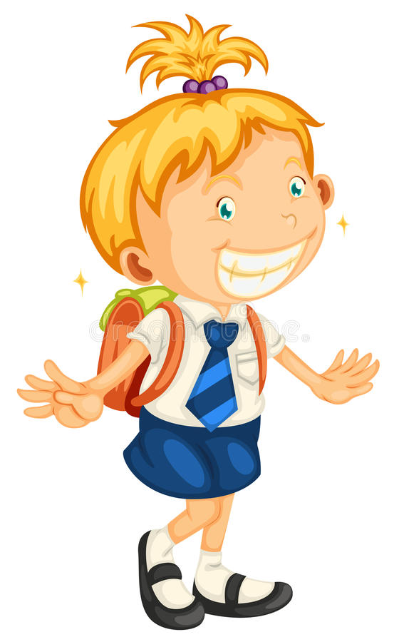 Download A girl going to school stock vector. Illustration of people - 26112436