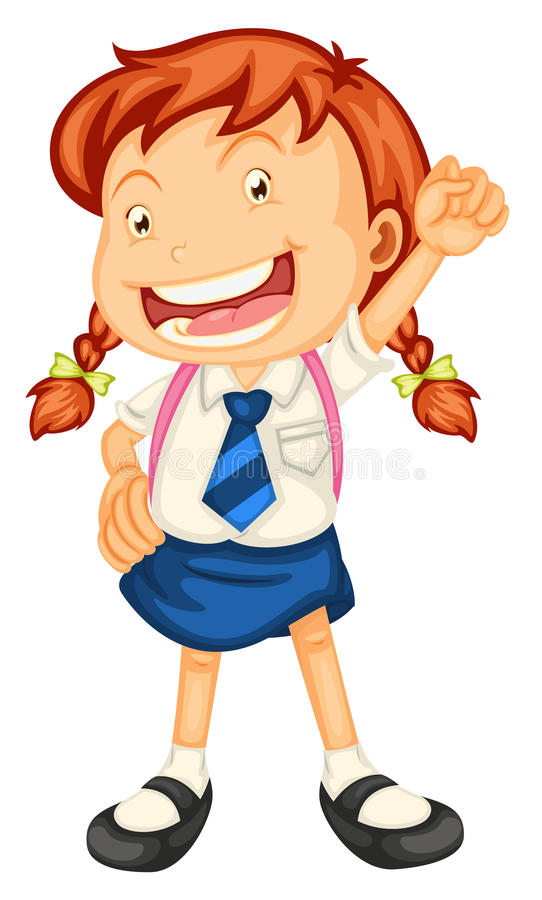 A girl going to school vector illustration