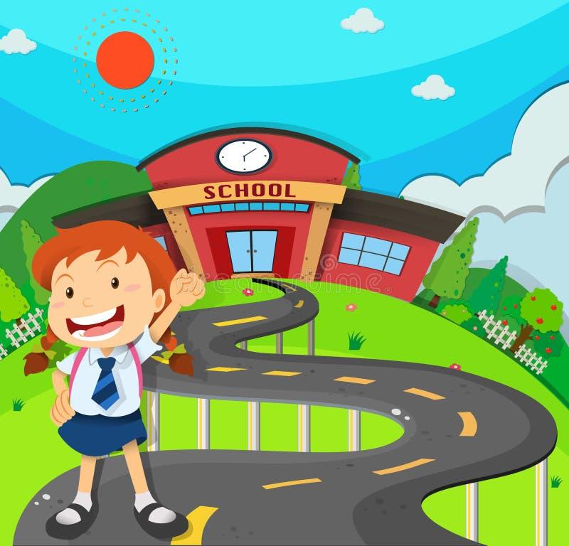 Girl going to school vector illustration