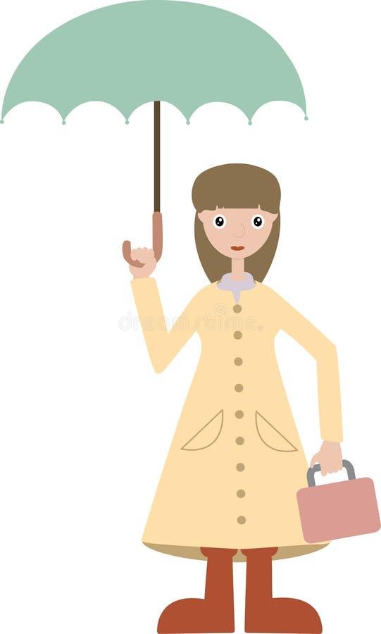Download Girl Going To School Wears Rain Gear Lunchbox Stock Vector - Image: 10582321