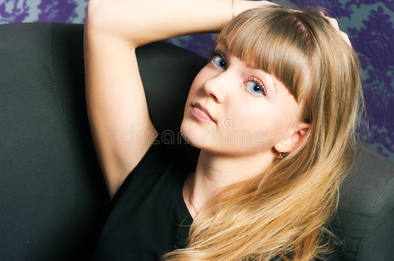 Girl with gold hair royalty free stock photos