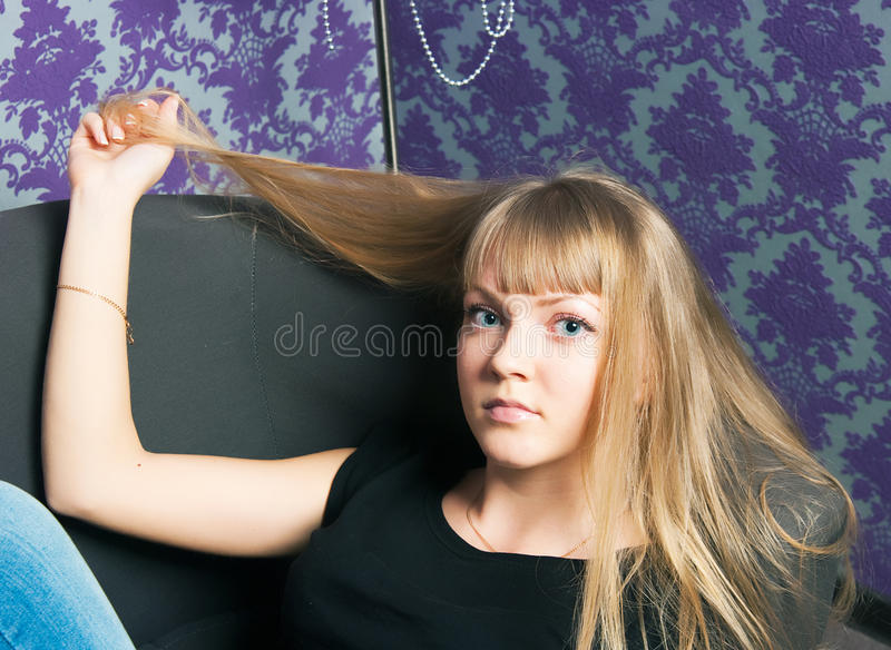 Girl with gold hair royalty free stock images