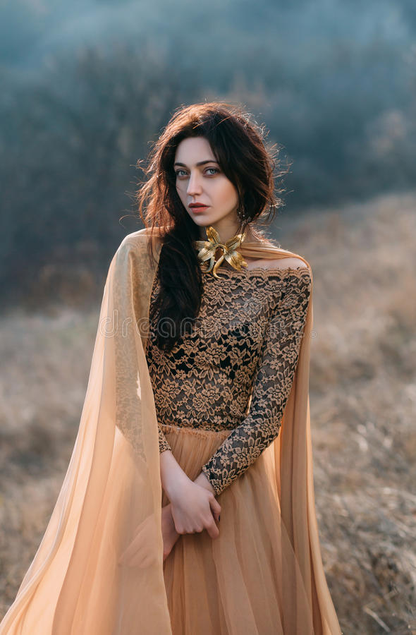 Girl in golden dress. Pretty brunette girl walks in the forest . She is dressed in luxurious, golden dress. The wind playing with her hair and fabrics. The royalty free stock image