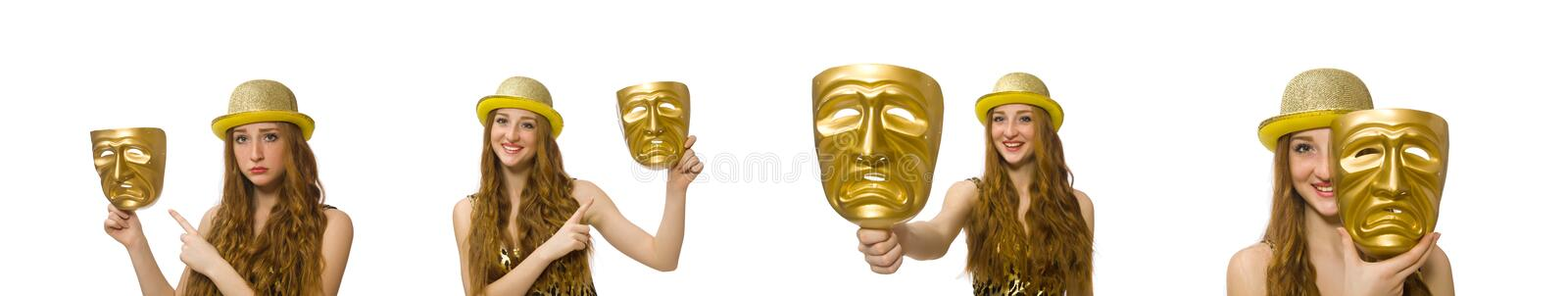 Girl in golden mask isolated on white royalty free stock photos