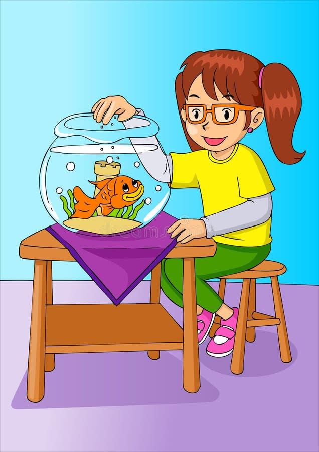 Girl With Goldfish royalty free illustration