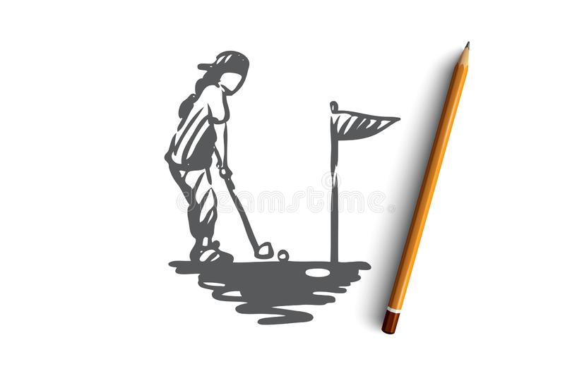 Girl, golf, racket, golfing, sport concept. Hand drawn isolated vector. vector illustration