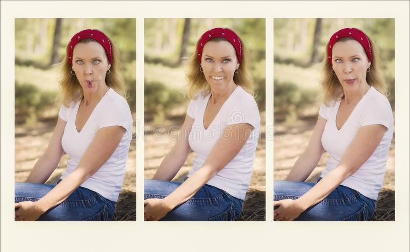 Girl Gone Crazy With Faces royalty free stock photography
