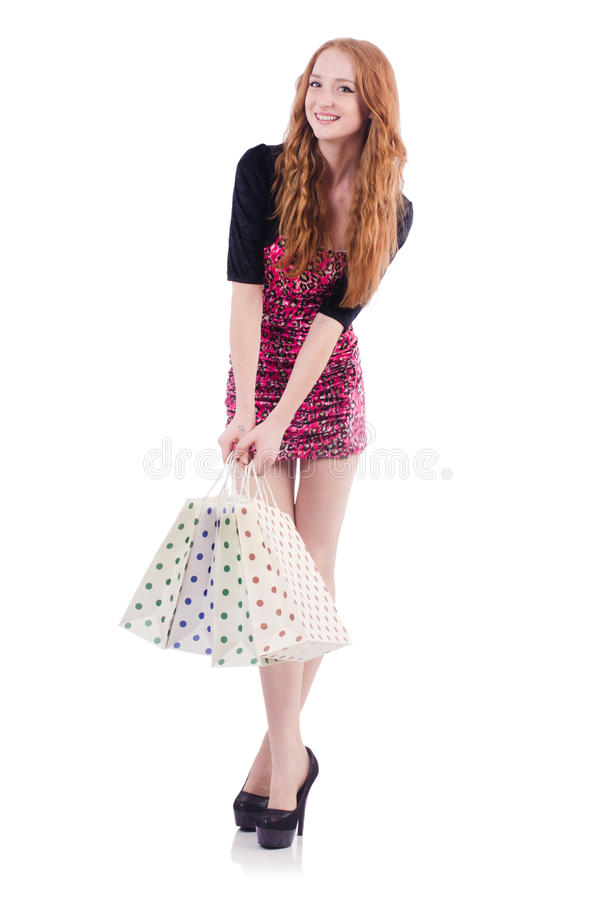 Download Girl after good shopping stock image. Image of market - 36986469